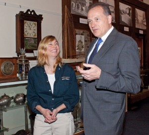 President of the Naugatuck Historical Society Wendy Murphy, left, talks with President and CEO of Naugatuck Savings Bank Charles Boulier, III after receiving $4,000 from the bank to sponsor their First Thursdays historical program. –RA ARCHIVE
