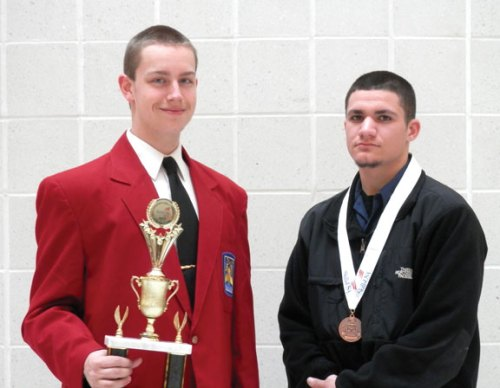 Prospect residents and Kaynor Technical High School students, from left, Matthew DiBlanda and Leo Ferland were honored March 28 during an awards ceremony at the Skills USA State Leadership Conference and Connecticut Skill Championships. DiBlanda was part of a team that won first place in the Promotional Bulletin Board category. Ferland earned a medal in Residential Wiring, a hands-on competition that required him to perform a variety of skills at top speed and accuracy. On June 24, the students will be heading out to Kansas City, Mo., for six days to compete in the Skills USA National Competition. -CONTRIBUTED