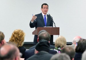 Gov. Dannel Malloy discussed gun control among other issues during a community forum in Naugatuck last month. Malloy signed a controversial gun bill into law last Thursday after it was approved by the General Assembly. –FILE PHOTO