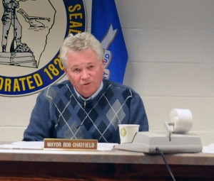 Prospect Mayor Robert Chatfield discusses the proposed $7.43 million town budget during a hearing Tuesday night. –LUKE MARSHALL