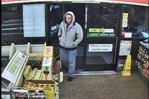 Police say the man shown here robbed two 7-Eleven stores in Waterbury on April 4. Naugatuck police have identified him as Brian Williams, 32, of Milford. Borough police say Williams robbed the Cumberland Farms on North Main Street in Naugatuck on Friday morning. –CONTRIBUTED