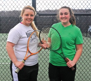 Woodland girls tennis captain Elizabeth Martin, left, along with fellow seniors Jesse Erickson and Emily Rioux, not pictured, will lead a deep Hawks squad. –LUKE MARSHALL