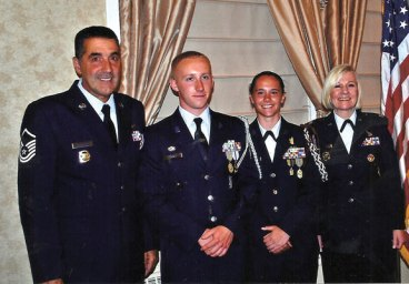 The Naugatuck High School Junior ROTC held its annual awards banquet at the Crystal Room May 16. A new chain of command was appointed by Master Sgt. Gary Morrone, left, and Lt. Colonel Valerie Lofland, right. The position of vice core commander will be filled by Josh Bierly, second from left, and the position of core commander will be filled by Kait Barry, second from right. Brendan Barnes, not pictured, is the new director of operations. –CONTRIBUTED