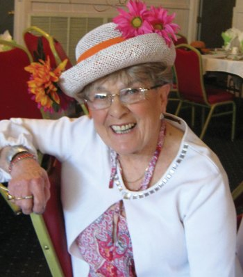 Naugatuck Woman's Club President Laura Smith shows off her hat during the club's Kentucky Derby luncheon May 6 at the Continental Room in Naugatuck. –CONTRIBUTED