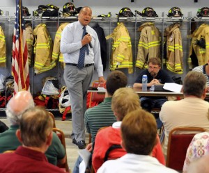 Beacon Falls First Selectman Gerard Smith speaks on the budget during a public hearing May 22. –LUKE MARSHALL