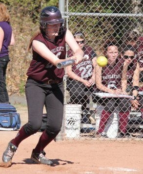 Naugatuck's Amy Dietz tries to lay down a bunt May 1 versus Derby at Breen Field in Naugatuck. The Greyhounds won, 11-0. –ELIO GUGLIOTTI