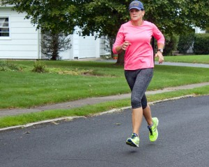 Naugatuck Deputy Mayor Tamath Rossi trains for a marathon last September. After checking a marathon off her list, she now has her sights set on the Pat Griskus Triathlon and is raising money for the Whittemore Library. –RA ARCHIVE