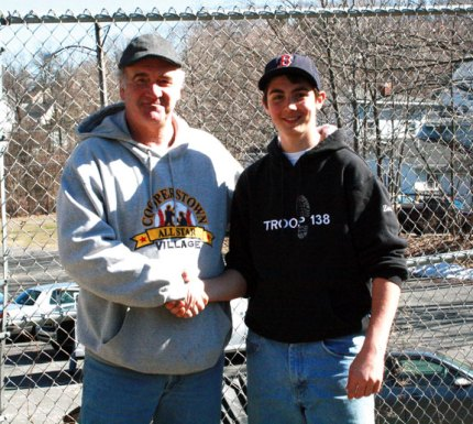 Zach Mason, right, a Boy Scout with Troop 138 in Naugatuck, shakes hands with Peter J. Foley Little League President Bob Dibble. Mason is making improvements to the Peter J. Foley baseball field for his Eagle Scout project. Phase one of the project, which included fixing the warning track, building a retaining wall and relocating the flag pole, was completed in June. Phase two, which will include improving the picnic area, will take place in August. Mason is holding a pasta supper June 22 at the Vern Maxwell Family Center located at St. Vincent Ferrer Church, 1006 New Haven Road in Naugatuck to raise money for the project. There are two seatings for the supper, 5 and 6 p.m., and tickets are $10. The supper is free for children 5 years old and younger. For tickets, call Mason at (203) 723-1904. -CONTRIBUTED