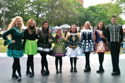 Dancers from the Horgan Academy of Irish Dance performed at Library Park in Waterbury on May 18 during The Gathering, a multi-cultural celebration. The dancers were selected from classes in Naugatuck, Cheshire Bethlehem, Southbury and New Milford. –CONTRIBUTED