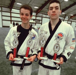 Mitchell Sullivan won first place in sparring and weapons while Javon Lopez won first place in weapons and second place in sparring at a Cheezic Tang Soo Do karate tournament held on May 19 at Hamilton Park in Waterbury. Both are members of USA Martial Arts in Naugatuck. -CONTRIBUTED