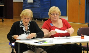 Beacon Falls Registrar of Voters Helen Mis, left, and Kathy Grace count votes from a budget referendum Thursday night in Laurel Ledge Elementary School. Voters rejected the proposed $6.2 million town budget by 46 votes. –LUKE MARSHALL