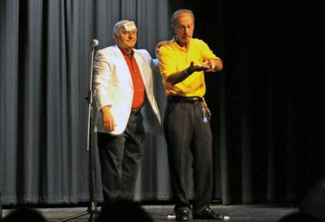 Gene Thompson, known as Gene the Amazing, performs a magic trick with Woodland Regional High School security guard Fred Smith June 11 during Woodland's Got Talent. The show was organized by Woodland student Casey Stevens as part of her senior project. 'It's to display and showcase the talents of the students, faculty, and teachers here at Woodland, Stevens said. The show featured 30 acts, including music, acting, magic and a dramatic reading. Stevens, who volunteers at Prospect Youth Services, said that the youth services hosts a talent night for elementary school students. 'Other than fine arts nights we don't really have a talent opportunity for students to partake in,' Steven said. –LUKE MARSHALL