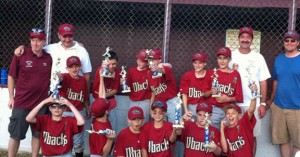 The Union City Little League Diamondbacks won the major boys division. Pictured, back row coaches Mark Vincent and Dave Pires, Ryan Shemanski, Ross Via, Jonathan Vincent, Elliott Via, Nick Tarmey, Brian Andrade, coaches Gordy Levesque and Matt Galvin. Front row, Fin Galvin, Cody Tribble, Charley Marenghi, Justin Papp, Nick Perugini and Jay Mezzo. –CONTRIBUTED