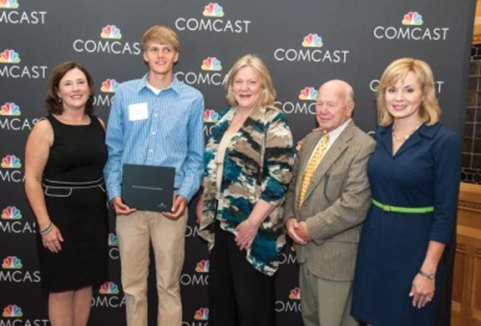 Woodland Regional High School graduate Ian Chamenko of Beacon Falls, second from the left, was one of 45 Connecticut high school seniors who were recently awarded Leaders and Achievers Scholarships from the Comcast Foundation at the state Capitol. The program provides one-time $1,000 scholarships to students who strive to achieve their potential, who are catalysts for positive change in their communities, who are involved in their schools, and who serve as models for their fellow students. Pictured from left, Regional Senior Vice President of Comcast for the Western New England Region Mary McLaughlin, Chamenko, state Rep. Theresa Conroy (D-105), state Sen. Joe Crisco (D-17) and Lisa Carberg, anchorwoman for NBC Connecticut. –CONTRIBUTED