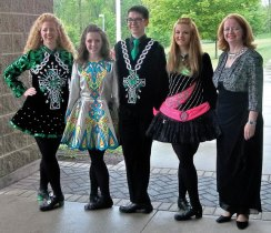 The Horgan Academy of Irish Dance celebrated a school year full of dancers' accomplishments at its recent annual recital. Dancers from ages 2 to adult, beginner to champion levels, performed for the public at the Horgan Academy's annual stage production. Also performed was the Irish dance drama depicting the true story of the 100th year anniversary of Ireland's Fr. Francis Brown and the Titanic. A team of 20 prize-winning and champion Horgan Academy dancers from the Greater Waterbury, New Milford, Bethlehem and Cheshire areas performed this story through dance at the New England Championships and at the World Championships. Three 2013 Maura Gill Horgan Memorial College Scholarships were awarded to three Horgan Academy high school seniors — Alyssa Gaskin from Sacred Heart High School, Lila Purvis from Cheshire High School and Christain Cairone from Emmett O'Brien Technical High School. Pictured, from left, Irene Horgan, Lila Purvis, Christian Cairone, Alyssa Gaskin, and Maureen Horgan. –CONTRIBUTED