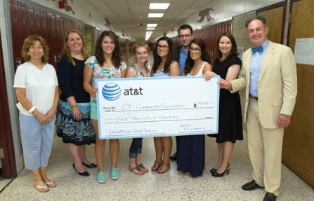 Four $1,250 scholarships, provided by a grant from AT&T Foundation to the Connecticut Community Foundation for the purpose of funding STEM (science, technology, engineering and math) scholarships for Naugatuck High School students, were awarded to Sarah Chandler, Samantha Hilse, Angelina DeRosa and Evangelina DeRosa June 24 at the school. State Rep. Rosa Rebimbas (R-70) joined representatives from the AT&T Foundation and the Connecticut Community Foundation to present the scholarships. 'I am honored to have had the opportunity provided by the AT&T Foundation through Mr. Kinson Perry to direct these funds to deserving Naugatuck High School students,' said Rebimbas an alumnus of NHS. Paula Van Ness, president of the Connecticut Community Foundation, said 'In today's competitive market place, it's important that our students are prepared with the tools they need for success.' Kinson Perry, director external and legislative affairs for AT&T Connecticut added, 'AT&T is proud to support organizations like the Connecticut Community Foundation that are committed to providing students with the opportunities and skills necessary to compete and thrive in today's competitive marketplace.' Pictured from left, Naugatuck High School Principal Jan Saam, Assistant Superintendent of Schools Brigitte Crispino, Chandler, Hilse, DeRosa, DeRosa, Josh Carey, director of grants management for the Connecticut Community Foundation (back), Rebimbas and Perry. –CONTRIBUTED