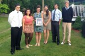 Six local high school graduates were awarded $2,000 Camille B. Perugini Charitable Trust Memorial Scholarships on June 19 at Jesse Camille's Restaurant in Naugatuck. Pictured, from left, Wolcott High School graduates Nicholas Velezis and Victoria Russo, attorney Carla M. Perugini-Erickson, Naugatuck High School graduates Alexis Simmons and Ryan Massicotte and Woodland High School graduate Ian Chamenko. Not pictured scholarship recipient Christian Parafati of Wolcott High School. The scholarship trust was created in memory of Camille B. Perugini, who was a graduate of the Boston College School of Education. To date, the scholarship committee has awarded 130 scholarships to area high school students. The total amount awarded since the scholarships' inception in 1998 exceeds $178,000. –CONTRIBUTED