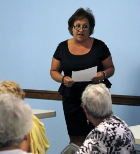 Eleanor Destefano-Ruggles talks to the Naugatuck Democratic Town Committee Thursday at the American Legion hall about why she's running for Board of Education. –ELIO GUGLIOTTI