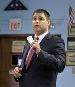 Naugatuck Mayor Robert Mezzo addresses the Democratic Town Committee after receiving the endorsement to run for a third term Thursday night at the American Legion hall. –ELIO GUGLIOTTI