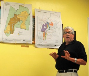 Turner Miller Group President Brian Miller discusses changes to the Beacon Falls Plan of Conservation and Development during a public hearing July 10. –LUKE MARSHALL