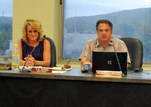Former Burgess Ronald San Angelo, right, closes out the Board of Mayor and Burgesses meeting July 2 next to Deputy Mayor Tamath Rossi. The meeting was the last for San Angelo, who is starting his new job as town administrator for Hanson, Mass. on Monday. –FILE PHOTO