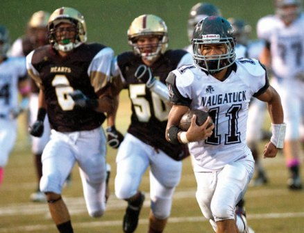 Mick Pernell broke a decade-old scoring record at Naugatuck last fall when he scored 31 touchdowns for the Greyhounds. –RA ARCHIVE
