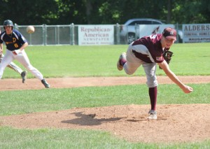 Post 17's John Dean delivers a pitch against Danbury Sunday afternoon at Rotary Field in Naugatuck. Dean allowed only two hits in eight innings of work as Post 17 won, 1-0. –ELIO GUGLIOTTI