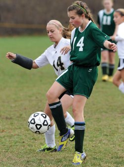 A broken arm couldn't keep Woodland's Steph Dumond off the pitch as she finished her career as one of the school's leading scorers. –RA ARCHIVE