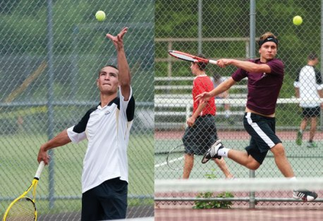 Woodland's Kyle Beynor, left, and Naugatuck's Julian Milek, an exchange student from Germany, faced off for the NVL singles championship. Beynor avenged an earlier loss to Milek, which ended his NVL unbeaten streak, by winning the title. –RA ARCHIVE