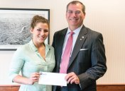 Naugatuck Valley Savings and Loan President and CEO Bill Calderara, right, awards Naugatuck High School graduate Sarah Chandler the Ronald D. Lengyel Scholarship recently. The $1,000 scholarship was established in honor Ronald D. Lengyel and is given to Naugatuck High School seniors who plan to continue their education. Lengyel is a former CEO, president and chairman of the Board of Naugatuck Valley Savings and Loan. Chandler will be continuing her education at Central Connecticut State University where she intends to pursue an athletic training major. –CONTRIBUTED