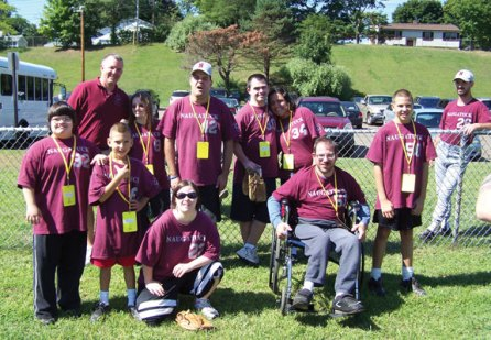 Special Olympians representing Naugatuck participated in the Connecticut Special Olympics at the Fall Sports Festival Sept. 7 and Sept. 8 in North Branford. Pictured are coach Mark Noss, Rachel Borusiewicz, Jake Segla, Augostino Portelhina, Tessa Daigle, Teresa Chouinard, Meaghan Jones, Anthony Thiel and Billy Cameron. -CONTRIBUTED