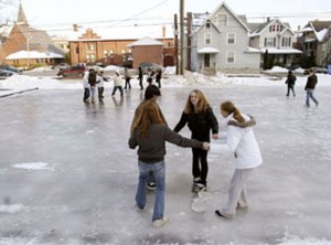 Naugatuck youth have fun at the former skating rink at Joseph R. Healy Recreation Area on Meadow Street in Naugatuck in 2009. A new portable ice skating rink will be opened this winter in Naugatuck. –RA ARCHIVE
