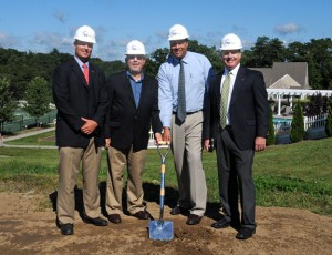 From left, EG Home President Matthew Gilchrist, President of the Chatfield Farms Homeowners Association Al Tornatore, Beacon Falls First Selectman Gerard Smith and EG Home Principal David Earp break ground on the new construction of homes at Chatfield Farms, an active adult community in Beacon Falls, Sept. 4. –LUKE MARSHALL