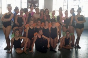 Nefra Sullivan-Wihbey, owner of Connecticut Dance Theater and the Arts in Prospect, top row center, poses for a picture with her students during a shoot for Australian pop singer Michaela Baranov's latest music video Sept. 15 in New York City. -CONTRIBUTED