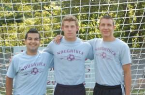 Naugatuck High School boys soccer captains, from left, junior Ygor Silva, senior Adam Branco and junior Tyler Saad will lead the Greyhounds on the pitch this season. –KEN MORSE