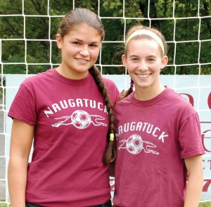 Naugatuck High girls soccer captains Katarina Gullotta, left, and Kelly Koslosky will lead an experienced and confident squad this season. –KEN MORSE