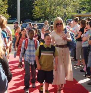 Maple Hill Elementary School in Naugatuck rolled out the red carpet for the first day of school Sept. 4. –LUKE MARSHALL