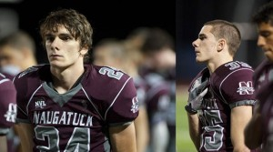 Naugatuck High School senior linebackers and twin brothers Bryan, left, and Matt Burke have been playing alongside each other on the gridiron since Pop Warner –RA ARCHIVE