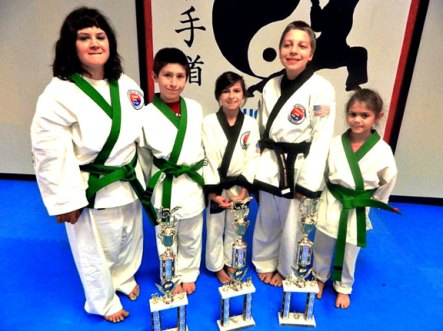 Five members of USA Martial Arts in Naugatuck, Michele Bernardini, Sean Sayer, Lauren Mulinski, Ben Meleschnig and Leah Quijano, won first place in their respective divisions at the Connecticut Yankee National Karate Tournament Oct. 6 at Holy Cross High School in Waterbury. -CONTRIBUTED