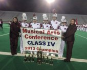 The Naugatuck High School marching band, under the direction of Robert Hughes, came in first place in Class IV at the Musical Arts Conference Championships held at Kennedy Stadium in Bridgeport Nov. 9. The band also won all caption awards for its class: Outstanding Marching, Music, General Effect, Percussion, Color Guard, Woodwinds, Brass and Drum Major. –CONTRIBUTED