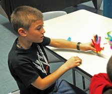 Prospect Youth Services held a Turkey Making Craft at The Grange in Prospect Nov. 21. A dozen children showed up to decorate foam hand cut-outs with sequins and feathers to make turkeys to bring home for Thanksgiving. –LUKE MARSHALL