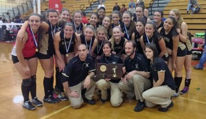 The Woodland volleyball team poses for a picture after winning the Class M state championship over Foran High, 3-1, Nov. 16 at Berlin High in Berlin. –KYLE BRENNAN