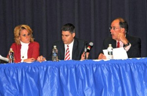 From left, Deputy Mayor Tamath Rossi, Mayor Robert Mezzo and Board of Education Chairman David Heller discuss a long-term strategic plan for the borough during a meeting of the Tri-Board Nov. 26 at City Hill Middle School. –LUKE MARSHALL