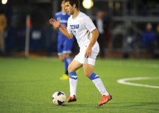 Manny Nobre, a senior midfielder at Central Connecticut State University, started 17 games in his final season for the Blue Devils. CCSU/STEVE MCLAUGHLIN