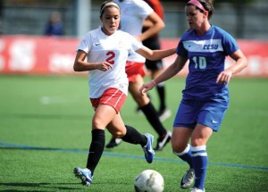 Steph Santos (2), a junior midfielder at the University of Hartford, was the Hawks' third leading scorer and earned a host of postseason honors. STEVE MCLAUGHLIN/UNIVERSITY OF HARTFORD ATHLETICS