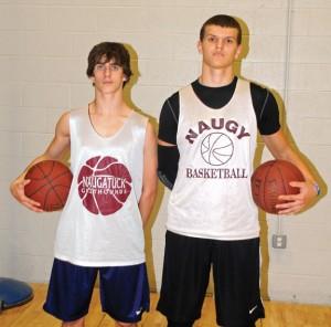 Naugatuck boys basketball captains junior Jason Bradley, left, and senior Ryne Griesenauer will lead the Greyhounds on the court this season. –LUKE MARSHALL