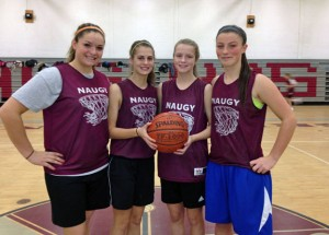 Naugatuck girls basketball captains, from left, Christina Batista, Emma Colucci, Jessica Butler and Angelina Piccirillo will lead the Greyhounds this season. –CONTRIBUTED