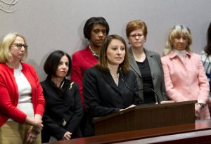 State Rep. Rosa Rebimbas (R-70) speaks at a press conference on the proposed 'Sexual Assault and Intimate Partner Violence Bill' Jan. 30 in Hartford. –CONTRIBUTED