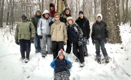 Boys Scouts from Troop 102 in Naugatuck took advantage of a weekend snowstorm in December to go camping in the backcountry at Camp Mattatuck in Plymouth. The scouts experienced the storm in a rustic cabin while sharpening their outdoor skills. Pictured, from left, Javon Brady, Assistant Scoutmaster Francis Ouellette, Nick Hanks, Russell Andrew, Chris Warner, Justin Wagner, Jesse Bronko, Ethan Maxwell, John Lauer and Webelo. Nick Lauer is in front. The troop is open to any boy ages 10 to 18 and meets Thursdays from 7 to 9 p.m. at the Naugatuck Congregational Church on Division Street. For more information, visit www.troop102ct.com. –CONTRIBUTED