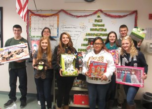 The Woodland Regional High School advisory program provided gifts and toys for 78 children of the Greater Waterbury area during its 13th annual Toy Drive. Janine Altamirano of the Waterbury Department of Public Health described the students' effort as 'over the top' and said that 'they brightened this holiday season for many.' The drive was run by Spanish teacher Loren Luddy advisory under the leadership of Kaylee McClintick and Alexa Charette along with Katie Bolduc, Jalyxea Colon, Sara Fowler, Caine Jimmo, Michael Kenney, Kevni Kica, Megan Lynch and Jacob Mancini. –CONTRIBUTED